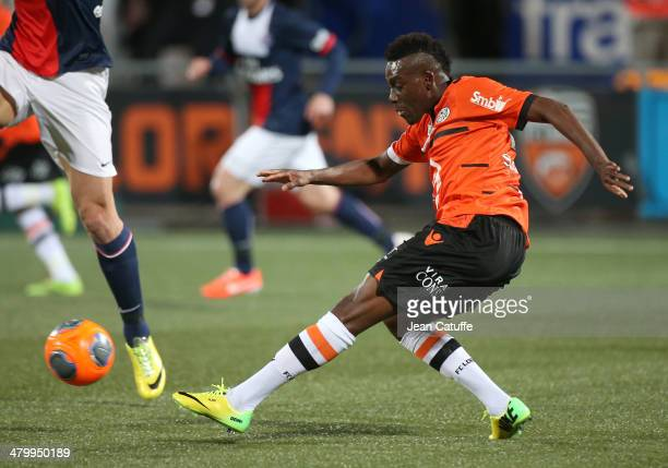 Alain Traore of Lorient in action during the french Ligue 1 match between FC Lorient and Paris SaintGermain FC at Stade du Moustoir on March 21 2014...