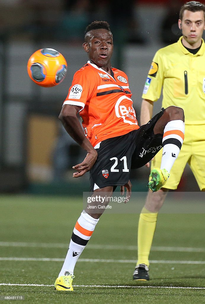 <a gi-track='captionPersonalityLinkClicked' href=/galleries/search?phrase=Alain+Traore&family=editorial&specificpeople=4146262 ng-click='$event.stopPropagation()'>Alain Traore</a> of Lorient in action during the french Ligue 1 match between FC Lorient and Paris Saint-Germain FC at Stade du Moustoir on March 21, 2014 in Lorient, France.