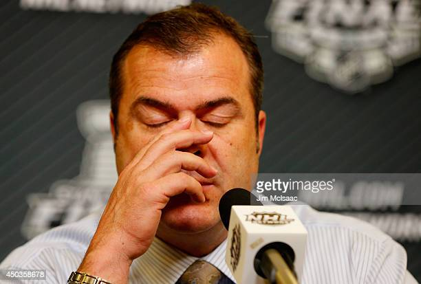 Alain Vigneault head coach of the New York Rangers speaks to the media at a press conferene following Game Three of the 2014 NHL Stanley Cup Final at...