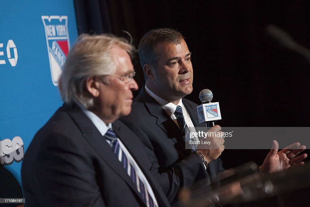 <a gi-track='captionPersonalityLinkClicked' href=/galleries/search?phrase=Alain+Vigneault&family=editorial&specificpeople=4146583 ng-click='$event.stopPropagation()'>Alain Vigneault</a>, the newly appointed head coach of the New York Rangers, speak at a press conference at Radio City Music Hall on June 21, 2013 in New York City.
