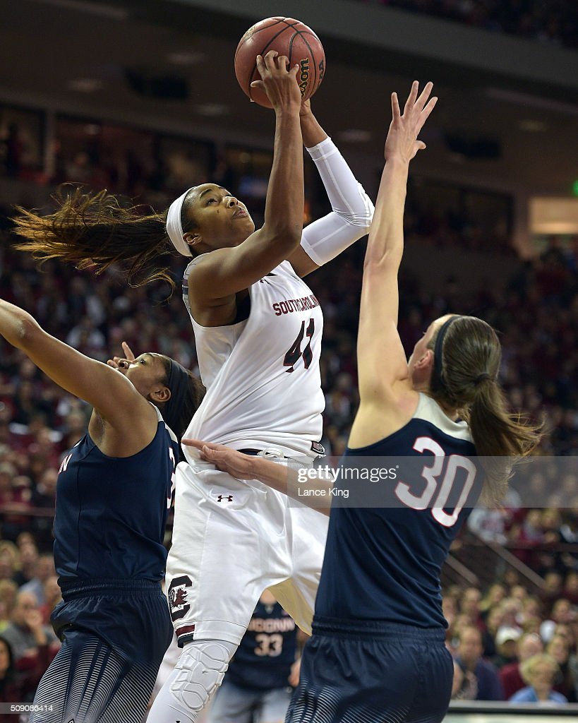 Alaina Coates #41 of the South Carolina Gamecocks puts up a shot against <a gi-track='captionPersonalityLinkClicked' href=/galleries/search?phrase=Breanna+Stewart&family=editorial&specificpeople=8564806 ng-click='$event.stopPropagation()'>Breanna Stewart</a> #30 of the Connecticut Huskies at Colonial Life Arena on February 8, 2016 in Columbia, South Carolina.