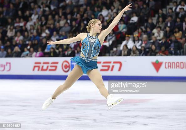 Alaine Chartrand of Canada competes in the Women's Singles Free Program during day two of the 2016 Skate Canada International at Hershey Centre on...