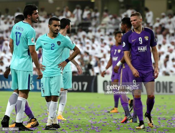 AlAin's forward Marcus Berg looks on during their AFC Asian Champions League Group C football match against AlHilal at the Hazza Bin Zayed Stadium in...