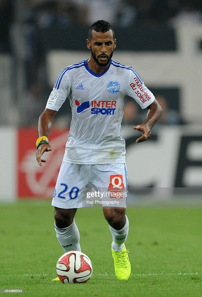 Alaixis Romao of Marseille in action during the French Ligue 1 match between Olympique de Marseille and OGC Nice at Stade Velodrome on August 29, 2014 in Marseille, France.