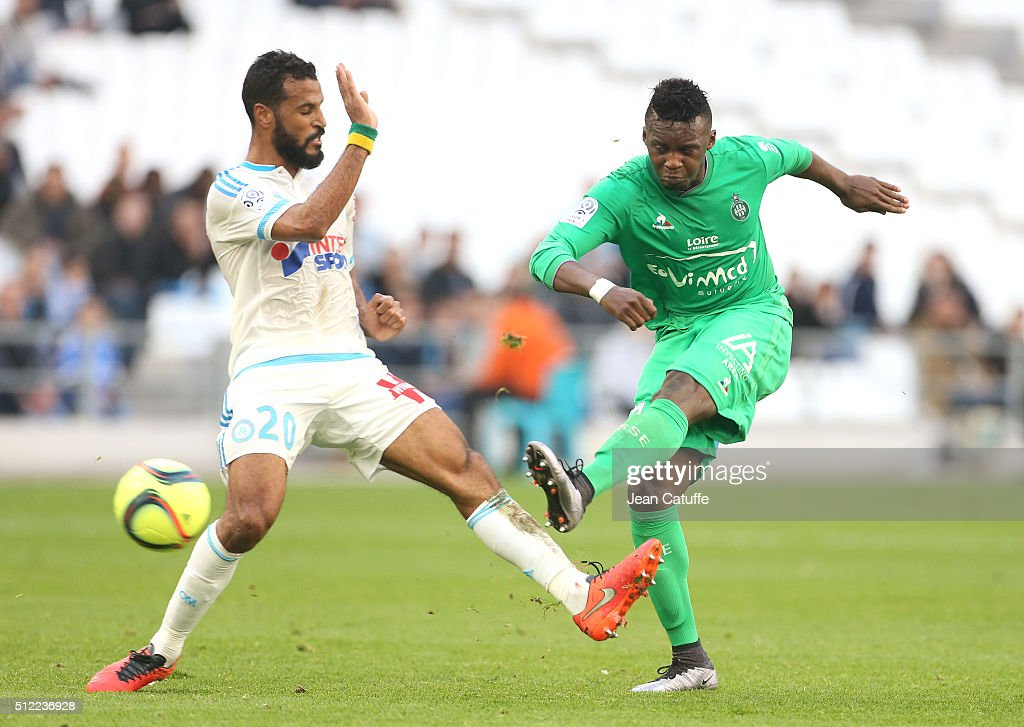 Alaixys Romao of OM and Jean-Christophe Bahebeck of Saint-Etienne in action during the French Ligue 1 match between Olympique de Marseille (OM) and AS Saint-Etienne (ASSE) at New Stade Velodrome on February 21, 2016 in Marseille, France.