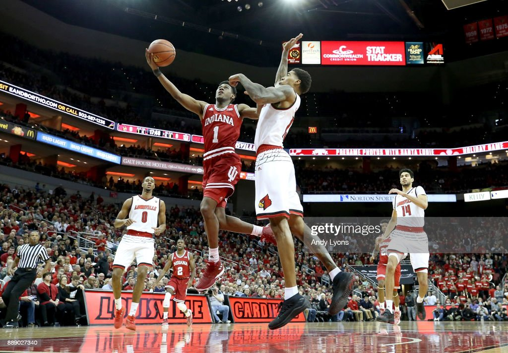 Alajami Durham #1 of the Indiana Hoosiers shoots the ball against the Louisville Cardinals at KFC YUM! Center on December 9, 2017 in Louisville, Kentucky.