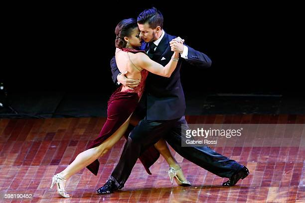 Alam Blascovich and Camila Delphim of Brazil dance during the Stage Tango Final as part of Buenos Aires Tango Festival World Championship 2016 at...