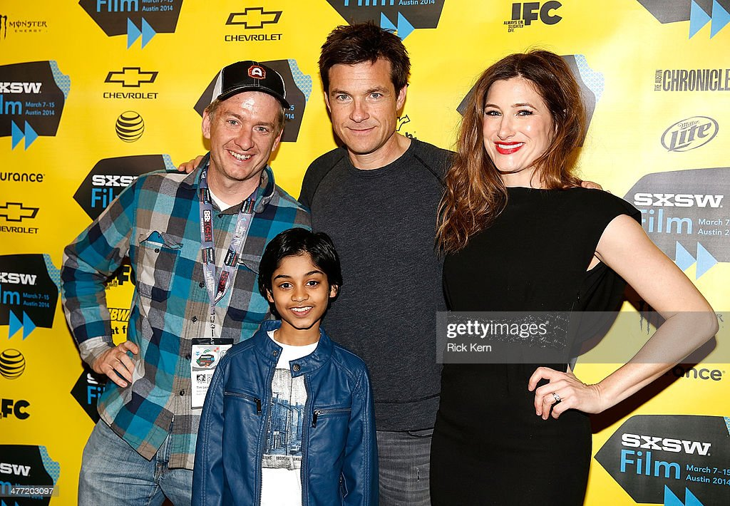 Alamo Drafthouse owner Tim League poses with actors Rohan Chand, Jason Bateman and Kathryn Hahn at the SXSW Red Carpet Screening Of Focus Features' 'Bad Words' on March 7, 2014 in Austin, Texas.
