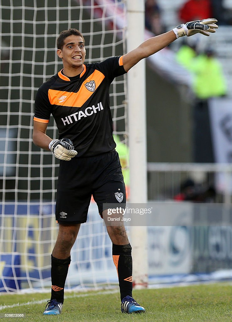 Alan Aguerre, of Velez Sarsfield, gestures during a match between River Plate and Velez Sarsfield as part of Torneo Transicion 2016 at Antonio Vespucio Liberti Stadium on April 30, 2016 in Buenos Aires, Argentina.