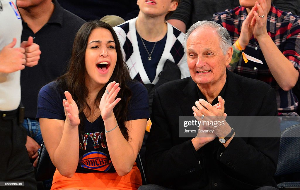 <a gi-track='captionPersonalityLinkClicked' href=/galleries/search?phrase=Alan+Alda&family=editorial&specificpeople=206416 ng-click='$event.stopPropagation()'>Alan Alda</a> and guest (L) attend the Portland Trail Blazers vs New York Knicks game at Madison Square Garden on January 1, 2013 in New York City.
