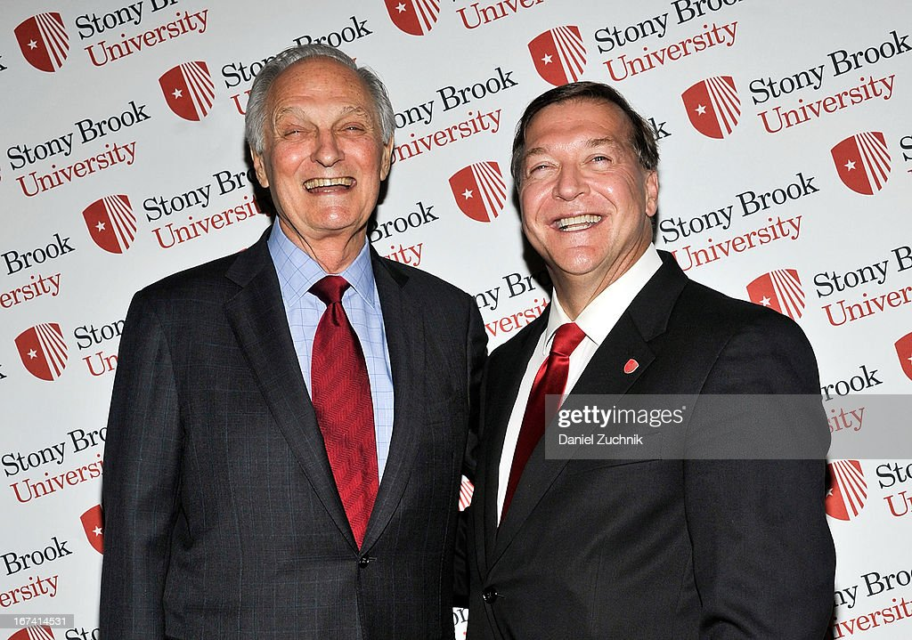 Alan Alda and Samuel L. Stanley Jr attend the 2013 Stars Of Stony Brook Gala at Pier 60 on April 24, 2013 in New York City.