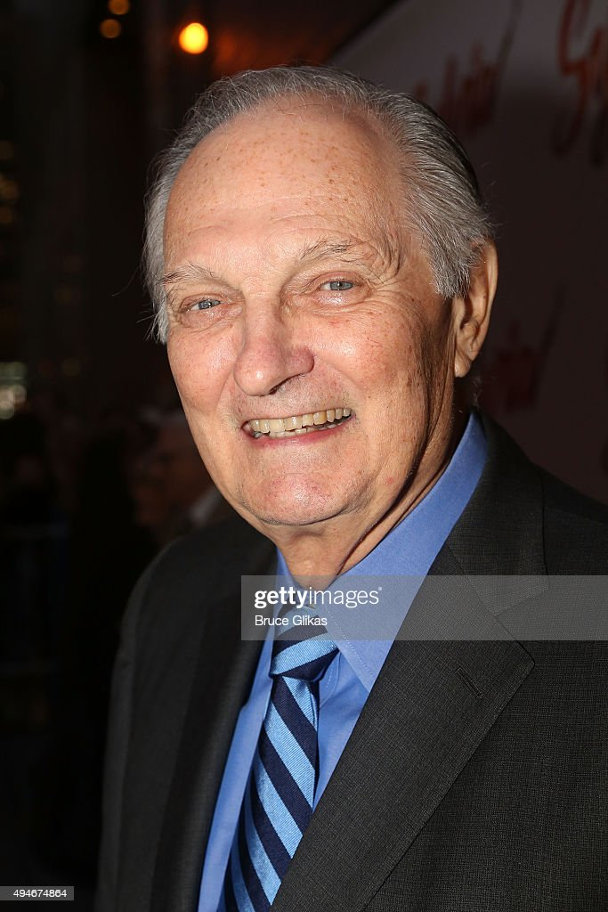 <a gi-track='captionPersonalityLinkClicked' href=/galleries/search?phrase=Alan+Alda&family=editorial&specificpeople=206416 ng-click='$event.stopPropagation()'>Alan Alda</a> poses at The Opening Night Arrivals for 'Sylvia' on Broadway at The Cort Theatre on October 27, 2015 in New York City.