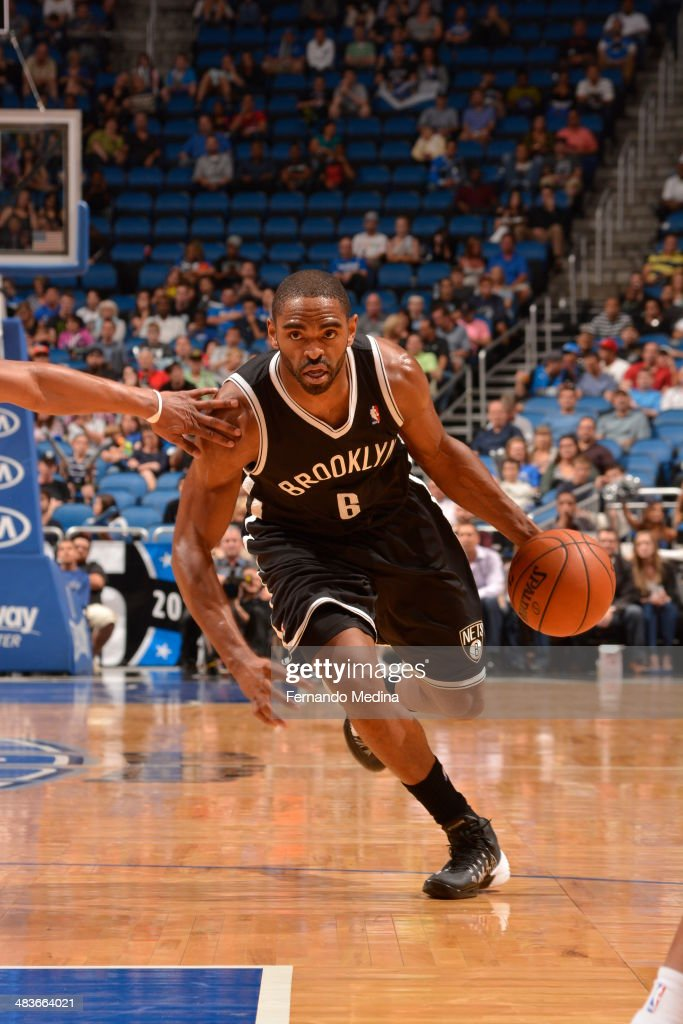 Alan Anderson #6 of the Brooklyn Nets dribbles the ball against the Orlando Magic during the game on April 9, 2014 at Amway Center in Orlando, Florida.