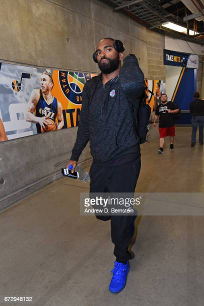 Alan Anderson of the LA Clippers arrives at vivintSmartHome Arena before Game Four of the Western Conference Quarterfinals against the Utah Jazz of...