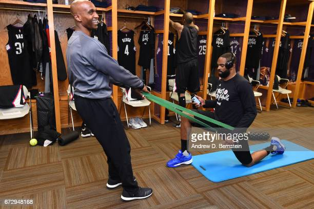 Alan Anderson of the LA Clippers gets treatment before Game Four of the Western Conference Quarterfinals against the Utah Jazz of the 2017 NBA...