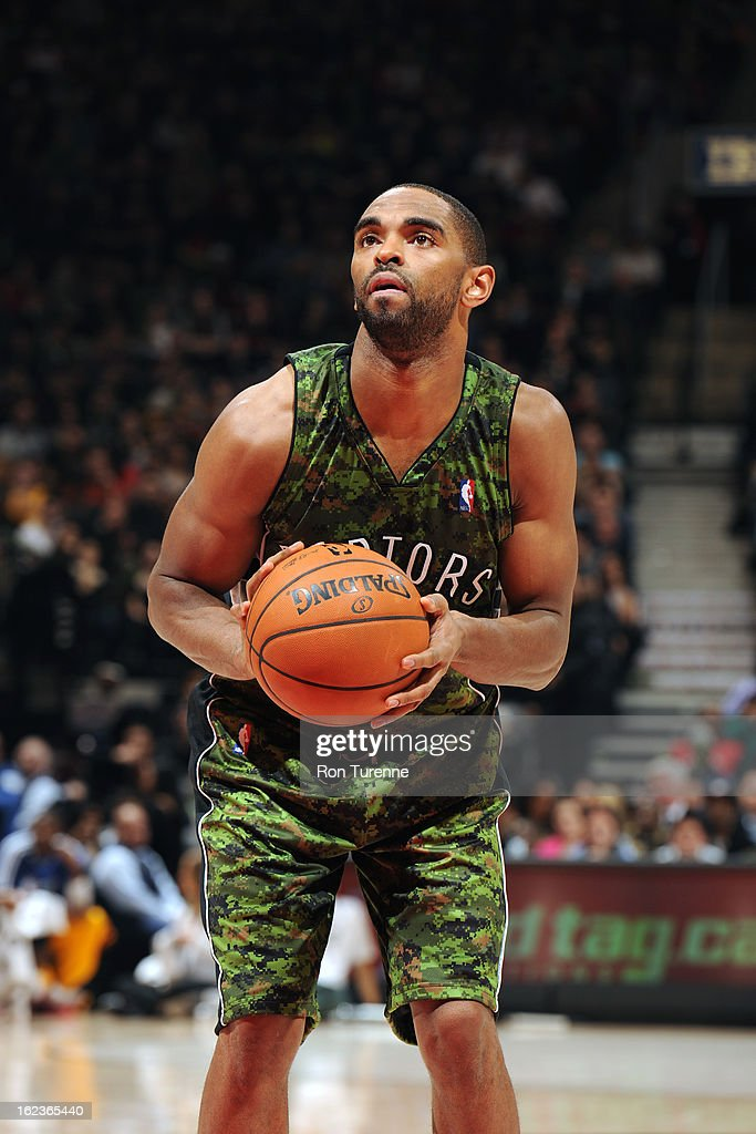 <a gi-track='captionPersonalityLinkClicked' href=/galleries/search?phrase=Alan+Anderson&family=editorial&specificpeople=3945355 ng-click='$event.stopPropagation()'>Alan Anderson</a> #6 of the Toronto Raptors attempts a foul shot against the Cleveland Cavaliers on January 26, 2013 at the Air Canada Centre in Toronto, Ontario, Canada.