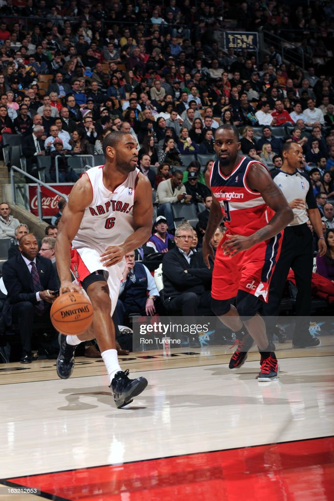 <a gi-track='captionPersonalityLinkClicked' href=/galleries/search?phrase=Alan+Anderson&family=editorial&specificpeople=3945355 ng-click='$event.stopPropagation()'>Alan Anderson</a> #6 of the Toronto Raptors drives to the basket against the Washington Wizards on February 25, 2013 at the Air Canada Centre in Toronto, Ontario, Canada.