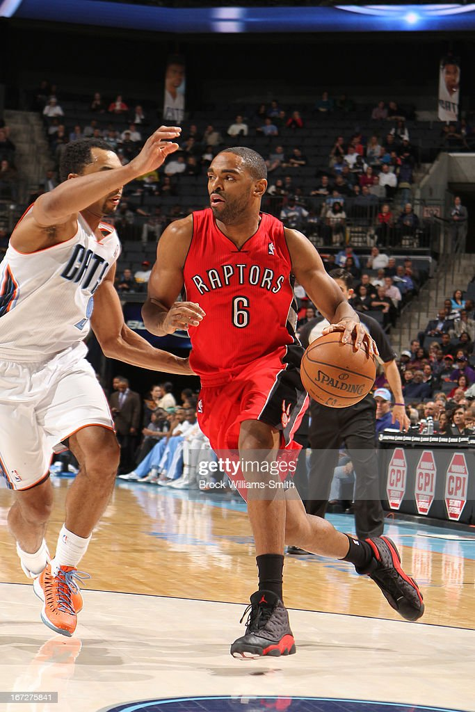 Alan Anderson #6 of the Toronto Raptors drives to the basket against the Charlotte Bobcats at the Time Warner Cable Arena on March 20, 2013 in Charlotte, North Carolina.