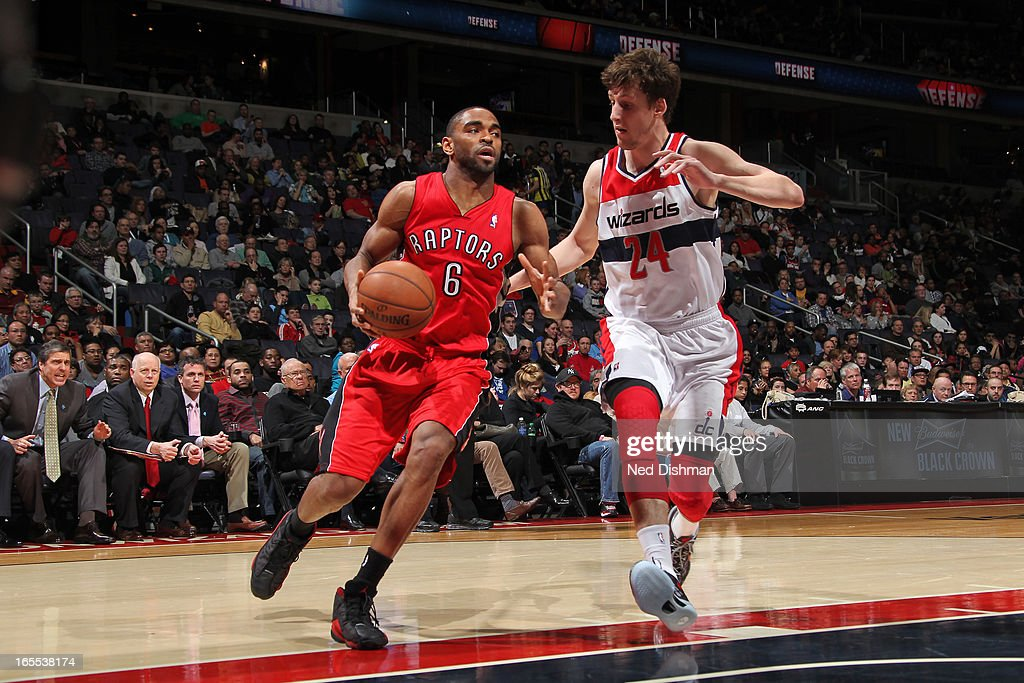 <a gi-track='captionPersonalityLinkClicked' href=/galleries/search?phrase=Alan+Anderson+-+Basket&family=editorial&specificpeople=3945355 ng-click='$event.stopPropagation()'>Alan Anderson</a> #6 of the Toronto Raptors drives to the basket Washington Wizards at the Verizon Center on March 31, 2013 in Washington, DC.