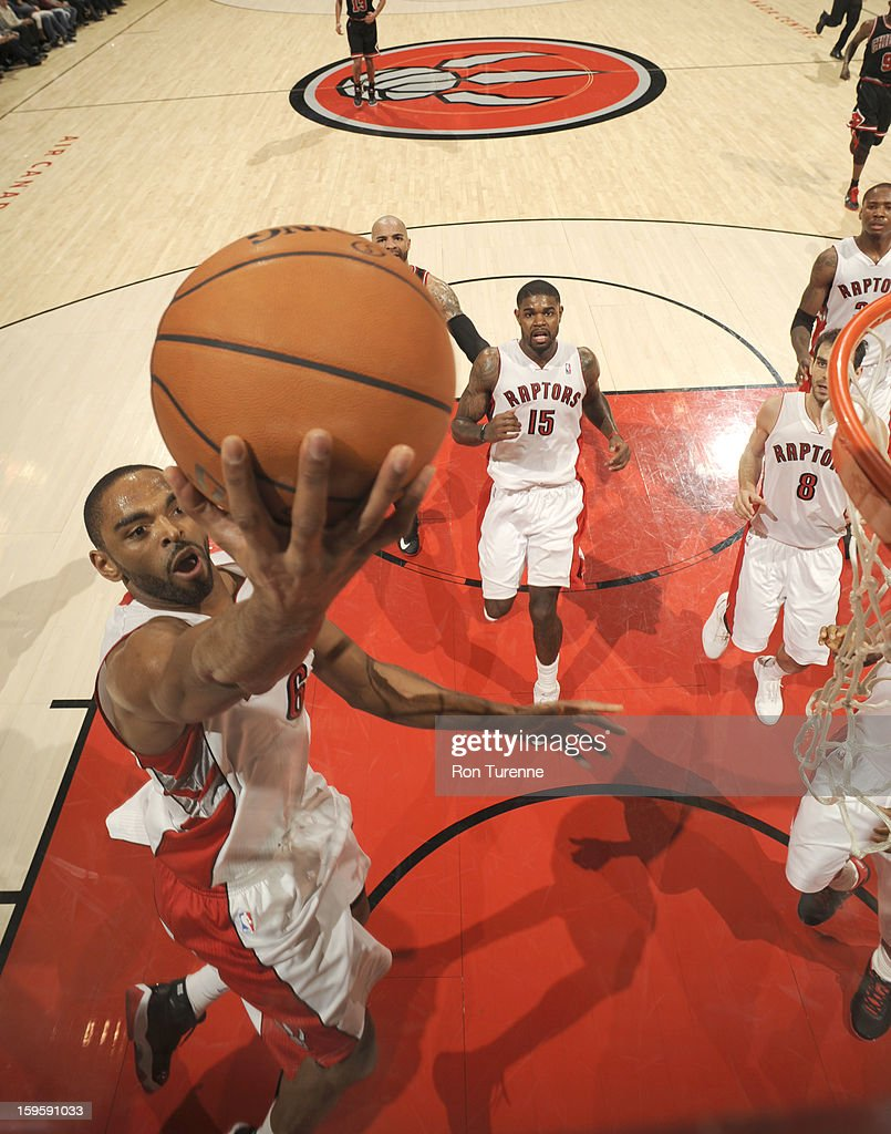 <a gi-track='captionPersonalityLinkClicked' href=/galleries/search?phrase=Alan+Anderson&family=editorial&specificpeople=3945355 ng-click='$event.stopPropagation()'>Alan Anderson</a> #6 of the Toronto Raptors goes to the basket during the game between the Toronto Raptors and the Chicago Bulls on January 16, 2013 at the Air Canada Centre in Toronto, Ontario, Canada.