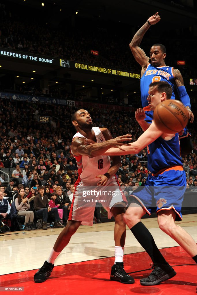 <a gi-track='captionPersonalityLinkClicked' href=/galleries/search?phrase=Alan+Anderson&family=editorial&specificpeople=3945355 ng-click='$event.stopPropagation()'>Alan Anderson</a> #6 of the Toronto Raptors passes the ball against the New York Knicks on March 22, 2013 at the Air Canada Centre in Toronto, Ontario, Canada.