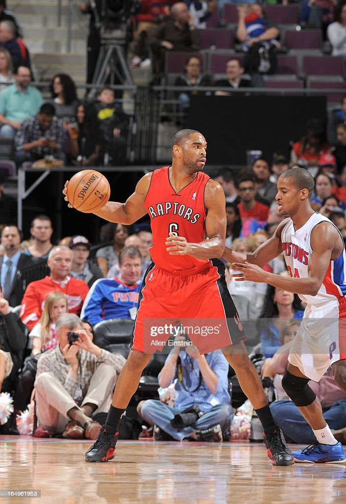 Alan Anderson #6 of the Toronto Raptors protects the ball during the game between the Detroit Pistons and the Toronto Raptors on March 29, 2013 at The Palace of Auburn Hills in Auburn Hills, Michigan.