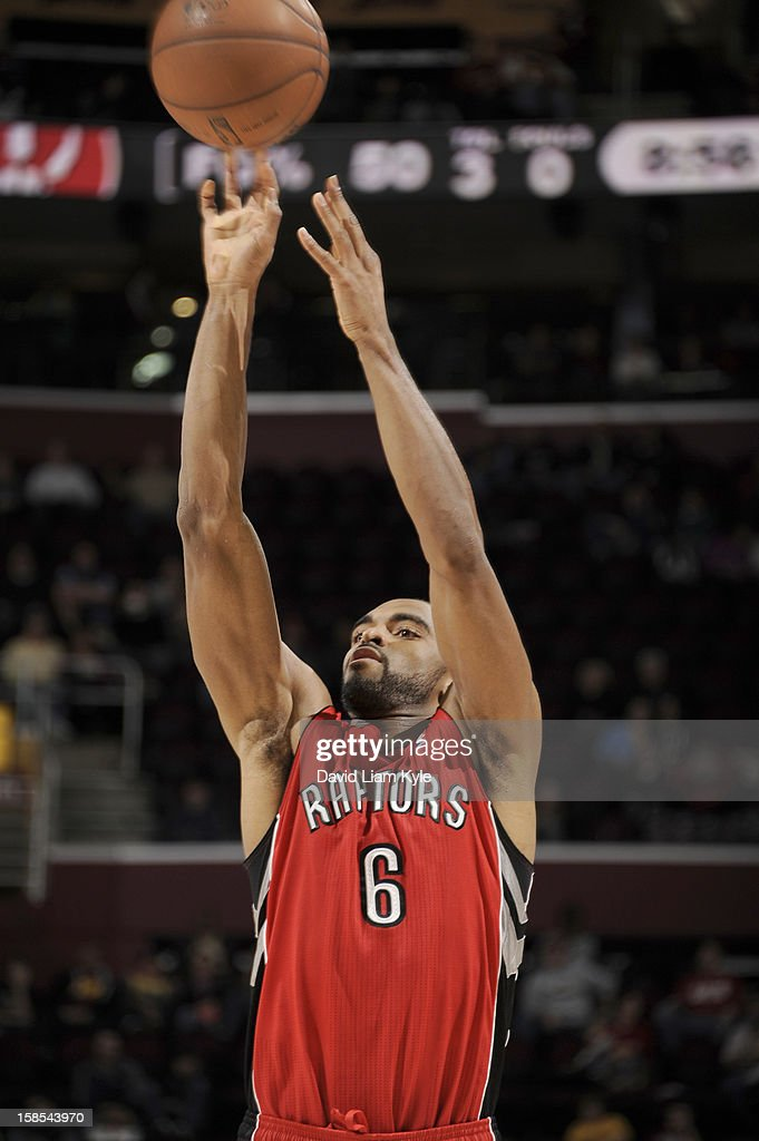 <a gi-track='captionPersonalityLinkClicked' href=/galleries/search?phrase=Alan+Anderson&family=editorial&specificpeople=3945355 ng-click='$event.stopPropagation()'>Alan Anderson</a> #6 of the Toronto Raptors shoots a jumper against the Cleveland Cavaliers at The Quicken Loans Arena on December 18, 2012 in Cleveland, Ohio.