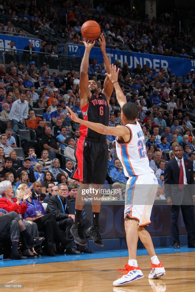 Alan Anderson #6 of the Toronto Raptors takes a jump shot against the Oklahoma City Thunder on November 6, 2012 at the Chesapeake Energy Arena in Oklahoma City, Oklahoma.