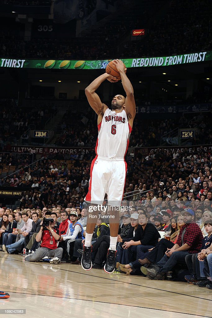 <a gi-track='captionPersonalityLinkClicked' href=/galleries/search?phrase=Alan+Anderson&family=editorial&specificpeople=3945355 ng-click='$event.stopPropagation()'>Alan Anderson</a> #6 of the Toronto Raptors takes a shot against the Oklahoma City Thunder on January 6, 2013 at the Air Canada Centre in Toronto, Ontario, Canada.