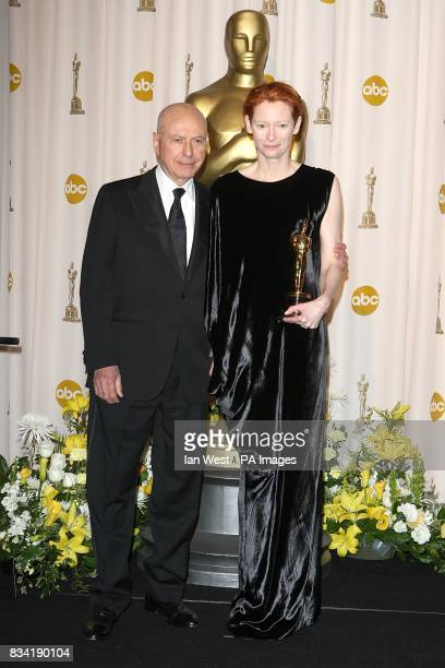 Alan Arkin with Tilda Swinton who won the award for Actress in a Supporting Role received for Michael Clayton at the 80th Academy Awards at the Kodak...
