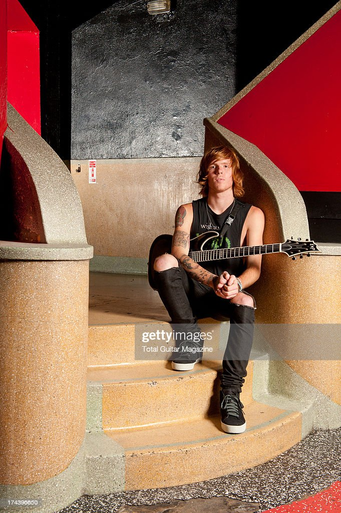 Alan Ashby, rhythm guitarist of American metalcore band Of Mice & Men, photographed during a portrait shoot for Total Guitar Magazine, October 10, 2012.