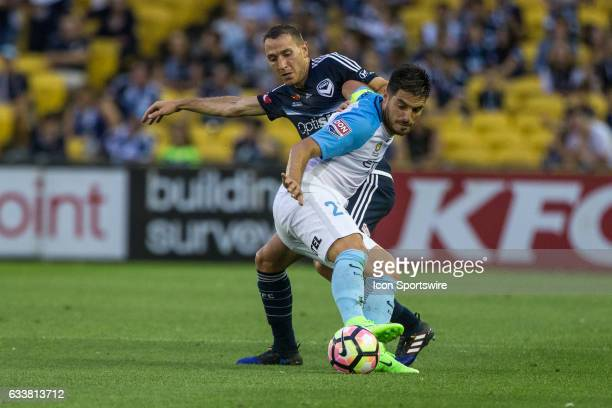 Alan Baro of Melbourne Victory and Bruno Fornaroli of Melbourne City contest the ball during the round 18 match of the Hyundai ALeague between...