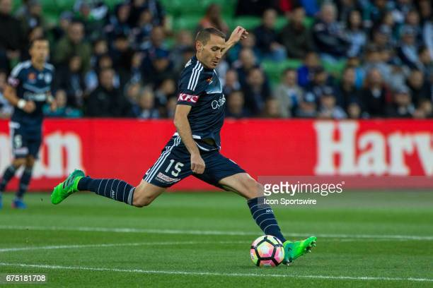 Alan Baro of Melbourne Victory clears the ball during the Semi Final Match of the Hyundai ALeague Finals Series between Brisbane Roar and Melbourne...