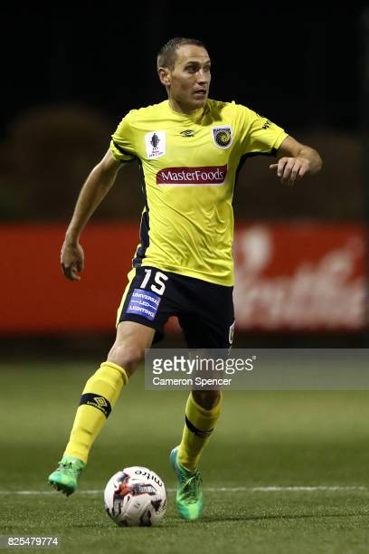 Alan Baro of the Mariners controls the ball during the FFA Cup round of 32 match between Blacktown City and the Central Coast Mariners at Lilys...