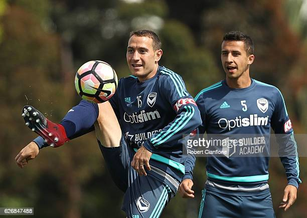Alan Baro of the Victory controls the ball during a Melbourne Victory ALeague training session at Gosch's Paddock on December 1 2016 in Melbourne...