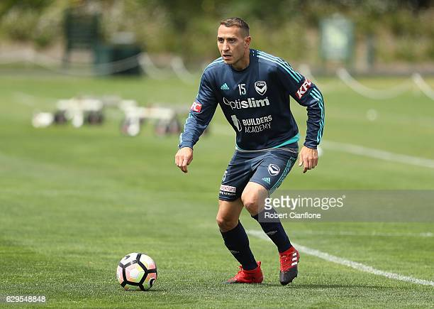 Alan Baro of the Victory controls the ball during a Melbourne Victory ALeague training session at Gosch's Paddock on December 14 2016 in Melbourne...