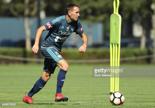 Alan Baro of the Victory controls the ball during a Melbourne Victory ALeague training session at Gosch's Paddock on March 8 2017 in Melbourne...