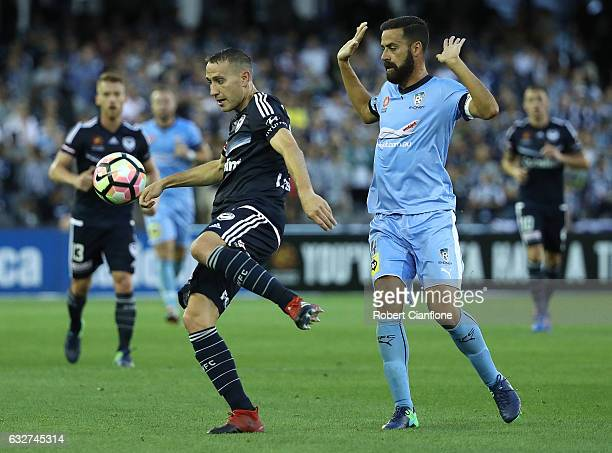 Alan Baro of the Victory kicks the ball during the round 17 ALeague match between the Melbourne Victory and Sydney FC at Etihad Stadium on January 26...