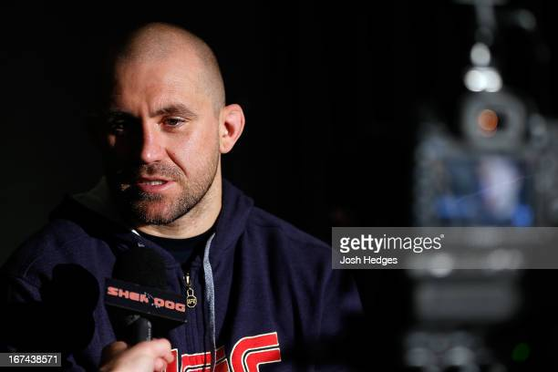Alan Belcher interacts with media during UFC 159 media day at The Theater at Madison Square Garden on April 25 2013 in New York City