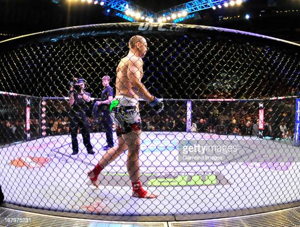 Alan Belcher stands in his corner after entering the octagon before a middleweight bout during UFC 159 Jones v Sonnen at Prudential Center in Newark...