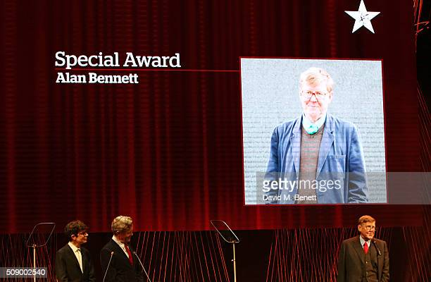 Alan Bennett accepts the Special Award onstage as host Simon Amstell and presenter Alex Jennings look on at the London Evening Standard British Film...