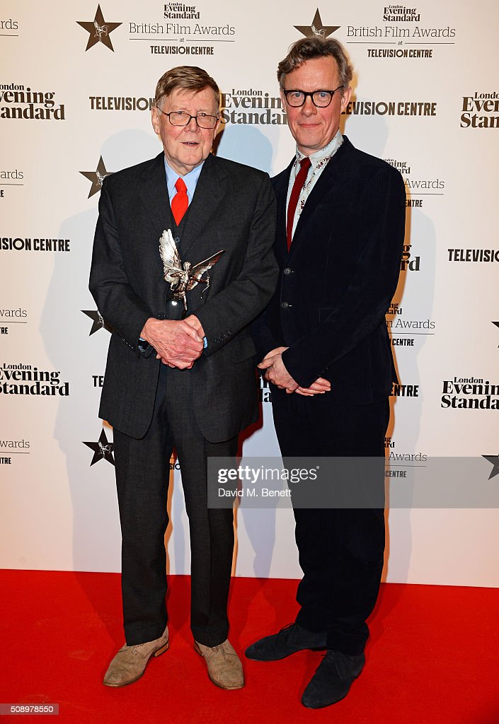 Alan Bennett (L), winner of the Special Award, and presenter <a gi-track='captionPersonalityLinkClicked' href=/galleries/search?phrase=Alex+Jennings&family=editorial&specificpeople=1180117 ng-click='$event.stopPropagation()'>Alex Jennings</a> pose in front of the Winners Boards at the London Evening Standard British Film Awards at Television Centre on February 7, 2016 in London, England.