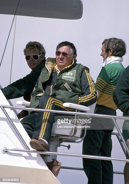 Alan Bond the Australian businessman and leader of the syndicate which owned the victorious Australia II watching the competition for the the...