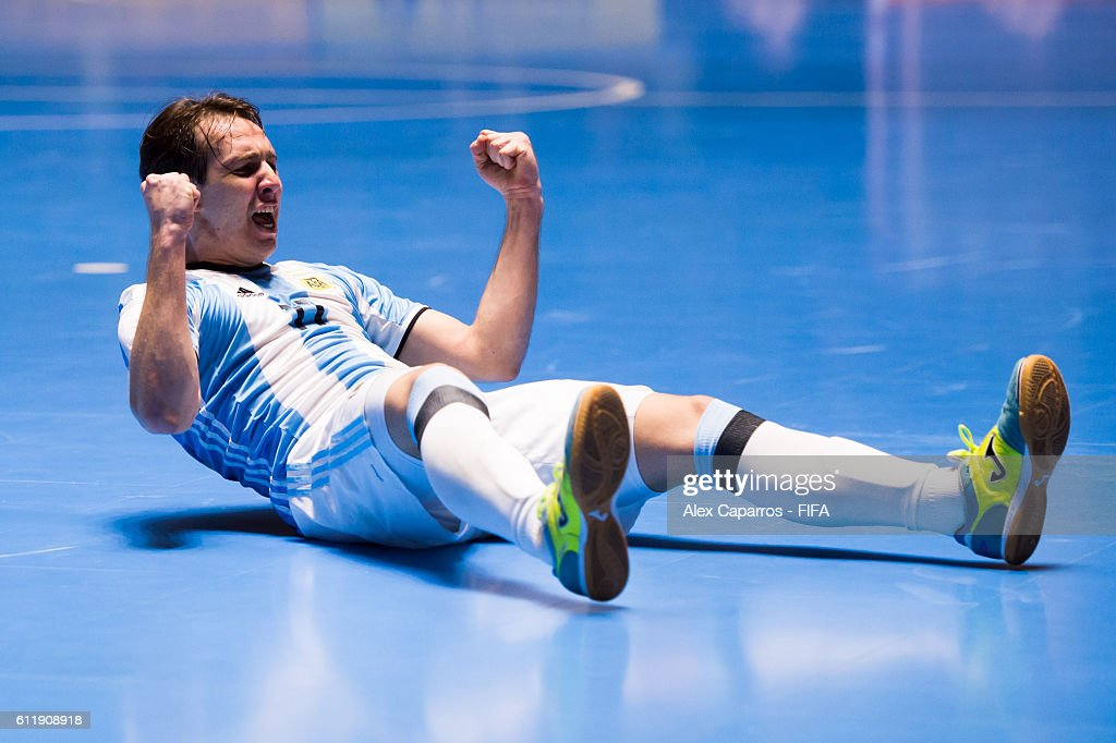 Alan Brandi of Argentina celebrates after scoring a goal during the FIFA Futsal World Cup final between Russia and Argentina at Coliseo el Pueblo on October 1, 2016 in Cali, Colombia.