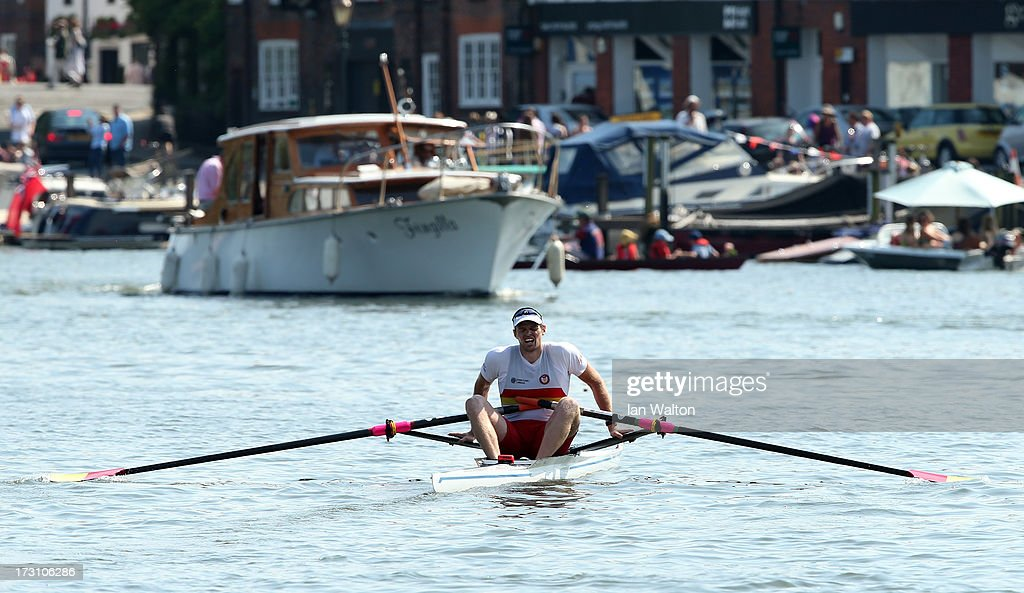 Alan Campbell of Great Britain after finishing second in the Diamonds Challenge Sculs final against Alexander Aleksandrov of Azherbajan on finals day of the Henley Royal Regatta on on July 7, 2013 in Henley-on-Thames, England.