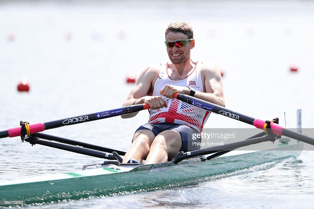 <a gi-track='captionPersonalityLinkClicked' href=/galleries/search?phrase=Alan+Campbell+-+Rower&family=editorial&specificpeople=9614141 ng-click='$event.stopPropagation()'>Alan Campbell</a> of Great Britain competes in the Men's Single Sculls quarterfinal during day 1 of the 2016 World Rowing Cup II at Rotsee on May 27, 2016 in Lucerne, Switzerland.