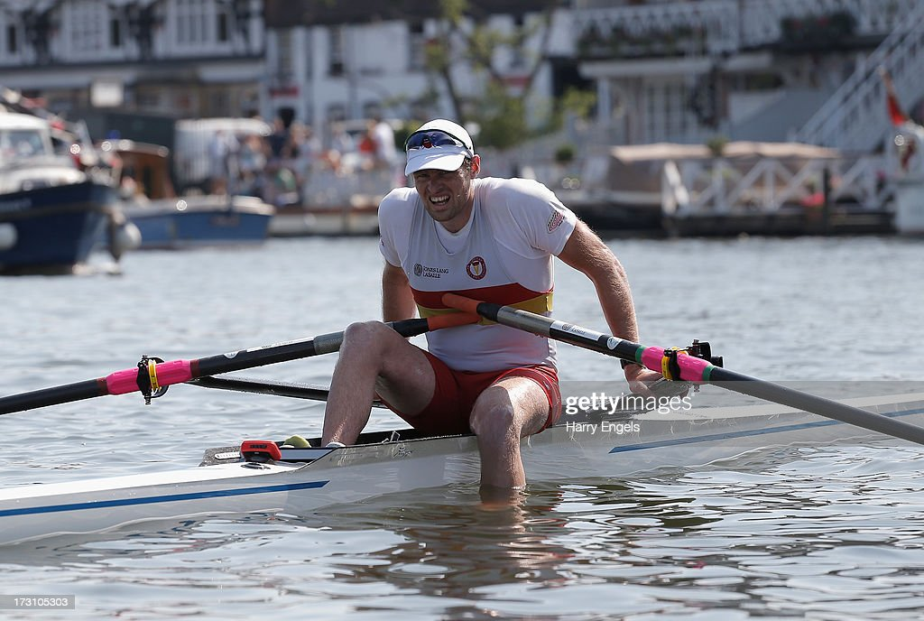 Alan Campbell of Great Britain looks dejected after losing the final of the Diamond Challenge Sculls on finals day of the Henley Royal Regatta on July 7, 2013 in Henley-on-Thames, England.