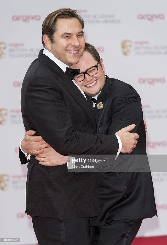 <a gi-track='captionPersonalityLinkClicked' href=/galleries/search?phrase=Alan+Carr&family=editorial&specificpeople=559469 ng-click='$event.stopPropagation()'>Alan Carr</a> and <a gi-track='captionPersonalityLinkClicked' href=/galleries/search?phrase=David+Walliams+-+Com%C3%A9dien&family=editorial&specificpeople=203020 ng-click='$event.stopPropagation()'>David Walliams</a> attend the Arqiva British Academy Television Awards 2013 at the Royal Festival Hall on May 12, 2013 in London, England.