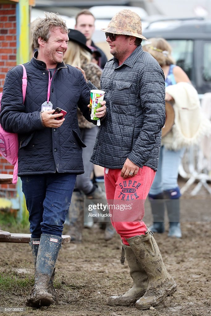 <a gi-track='captionPersonalityLinkClicked' href=/galleries/search?phrase=Alan+Carr&family=editorial&specificpeople=559469 ng-click='$event.stopPropagation()'>Alan Carr</a> (R) attends the Glastonbury Festival at Worthy Farm, Pilton on June 26, 2016 in Glastonbury, England.