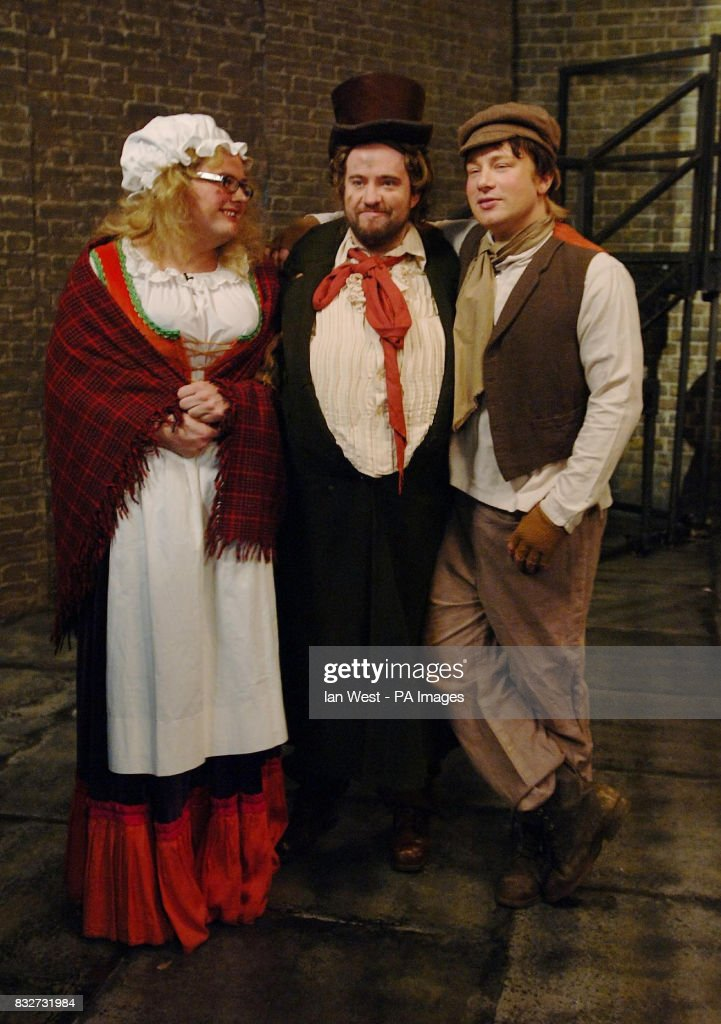 Alan Carr, Justin Lee Collins and Jamie Oliver - as Oliver Twist - film a sketch for the Friday Night Project, at the London Studios in central London.